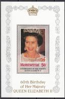 603 Montserrat 1986 60th Birthday Of Her Majesty Queen Elizabeth II Sheet Nuovo MNH - Montserrat