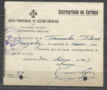 W1A-DOCUMENTO CUOTA MURCIA ESPINARDO JUNTA PARROQUIAL ACCION CATOLICA 1945 JUNTA PARROQUIAL ACCION CATOLICA DE SAN PEDRO - Documentos Históricos