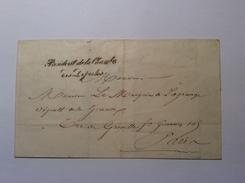 """France Franchise """"PRESIDENT DE LA CHAMBRE DES DÉPUTÉS"""" (1838-44) Lettre > Mr Marquis E.L. De La Grange Député Gironde - 1849-1876: Klassik"""