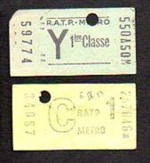 Ticket Ou Billet De Métro RATP 1ére Classe (2) - Métro