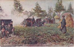 Künstlerkarte CPA AK En Guerre Artillerie Belge En Action Canon WW1 1 Weltkrieg War Militaria Militaire Militär Belgique - Ausrüstung