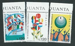 Italia, Italy 1978; Bandiere, Flags ; Disegni Di Bambini,  Drawings By Kids. Serie Completa Di Bordo Superiore. - Stamps