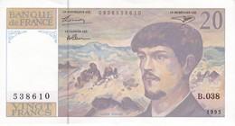 BILLETE DE FRANCIA DE 20 FRANCS DEL AÑO 1993 SERIE B CALIDAD EBC (XF) (BANKNOTE) CLAUDE DEBUSSY - 20 F 1980-1997 ''Debussy''