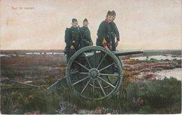 CPA AK Sur Le Canon Artillerie Armée Belge Gun War 1. Weltkrieg Guerre WW1 Militaria Militaire Militär Belgique Belgium - Ausrüstung