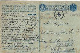 FRANCHIGIA WWII POSTA MILITARE 51 1943 ZAGHOUAN TUNISIA X SAN CATALDO - Militärpost (MP)