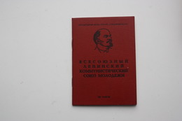 USSR Soviet  KOMSOMOL  ID Card   - 1977  Edition - Ukrainian Republic Variant - Documents Historiques