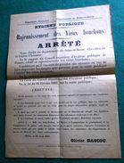 Affiche:Arrêté Préfectoral De 1908 Portant Réglementation De L'usage Des Vieux Bouchons Rajeunis . RARE ! - Unclassified