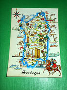 Cartolina Sardegna - Cartina Turistica 1961 - Cagliari