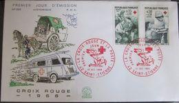 Enveloppe FDC 585 - 1966 - Croix-Rouge - Ambulance - Chevaux - YT 1508 1509 - St Etienne - 1960-1969