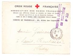 Lettre - Franchise Militaire - Croix Rouge Française - Marseille - Hôpital Auxiliaire Du Territoire N°201 - Marcophilie (Lettres)