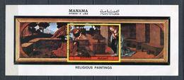 MANAMA 1970 Mi # Block  A 200 B PAINTING RELIGION Leonardo Da Vinci CTO - Manama