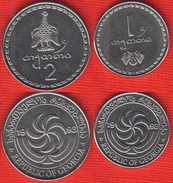 Georgia Set Of 2 Coins: 1 - 2 Tetri 1993 UNC - Georgia