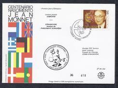 9.5.1988 CENTENARIO NASCIMENTO JEAN MONNET LIAISON POSTALE LISBONNE LISBOA STRASBOURG CONSEIL EUROPE TIRAGE LIMITE - 1910-... République