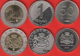 Georgia Set Of 3 Coins: 50 Tetri - 2 Lari 2006 UNC - Georgia