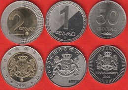 Georgia Set Of 3 Coins: 50 Tetri - 2 Lari 2006 UNC - Géorgie