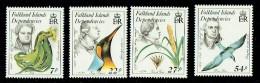 1985  Naturalists And Endangered Species: Dolphin,   Kelp, Petrel, Bird  Complete Set UM** - Falkland Islands