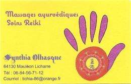 Carte De Visite - Massages Ayurvédiques - Soins Reiki - Mauléon-Licharre [64] - Cartoncini Da Visita