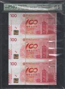 Bank Of China,  KNB5a Celebrate The Centenary Of BOC,Uncut Block Of 3, See Description - Hong Kong