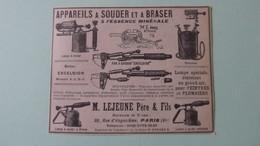 APPAREILS A SOUDER ET A BRASER à L'ESSENCE MINERALE - LEJEUNE Père Et Fils -PARIS  -  PUBLICITE DE 1925 - Publicités