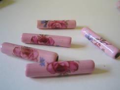 Huit Perles Tubes, Longueur 3cm, Fleurs Du Printemps, Trou D'environ 3mm - Perles