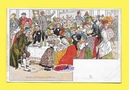 CPA Illustrateur P KAUFFMANN  Carte CHROMO N°16 Série De 24  USAGE ET COSTUMES D´ALSACE REPAS NOCE - Kauffmann, Paul
