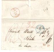 """L. De BRUXELLES 1844 Vers BÂLE  - Ind.""""23/6"""" + """"32"""" - Griffe Rouge W P.TB. - 1830-1849 (Unabhängiges Belgien)"""