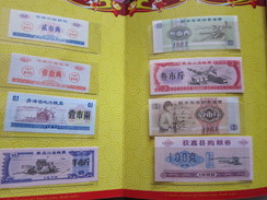 Albums With 8 Food Coupon,three Banknotes And Six Coins, Issued By China - Mezclas - Monedas