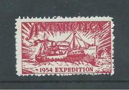 Australian Antarctic Territory 1954 Expedition Label Red Ship Kista Dan MNH - Australian Antarctic Territory (AAT)