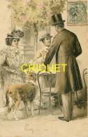 Belle Fantaisie Gaufrée, Homme Avec Chien Lévrier Et Couple à Une Table De Café, Affranchie 1903 - Hombres