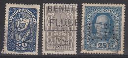 OOSTENRIJK - Michel - 1916/19/22 (PERFINS) - Nr 192 + 271 + 378 (L.R/WARW/SV) - Gest/Obl/Us - 1918-1945 1. Republik
