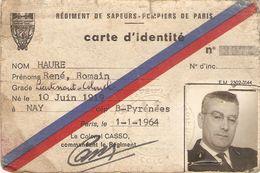 Carte D'identité D'officier De La BSPP, Colonel Haure, 1964, Sapeurs-pompiers De Paris, Centre De La Protection Civile - Historical Documents