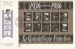 France - 1986 - 50ème Anniversaire Cinémathèque - BF9 Sur Enveloppe FDC Historique 1490 - Renoir - Becker - Truffaut - FDC