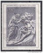 """1381 Italia 1974 """" Creazione Di Adamo """" - Bassorilievo Di Jacopo Della Quercia - Rinascimento Viaggiato Used - Vetri & Vetrate"""