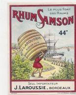 étiquette (parafinée) RHUM SAMSON Laroussie Importateur BORDEAUX - Rhum