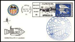 USA: 'Apollo-16 In Space - PFS-2 Sub-satellite - Blue Cachet, 1972', Kennedy Space Center - Briefe U. Dokumente
