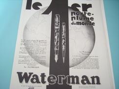 ANCIENNE PUBLICITE 1 ER PORTE PLUME DU MONDE WATERMAN 1930 - Autres