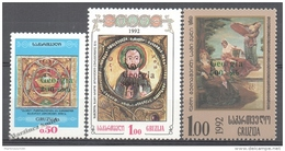 Georgie - Georgia 1994 Yvert 78A-78C, Definitive, Art - Types  From 1993 With Overcharge  -  MNH - Georgia
