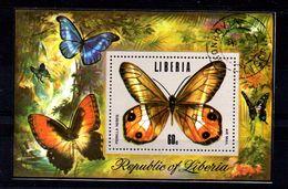 EDY 631 - LIBERIA , Il Foglietto Con La Farfalla  Pierella Neris Usata - Farfalle