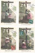 Série De 5 CPA (seulement 4 Reproduites) Couple D' Enfants Devant Une Croix (Pour Les Pauvres)     (98359) - Femmes