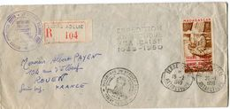T.A.A.F LETTRE RECOMMANDEE  AFFRANCHIE AVEC LE PA 1 AVEC CACHET EXPEDITION ANTARCTIQUE FRANCAISE 1948-1950 +............ - Terres Australes Et Antarctiques Françaises (TAAF)