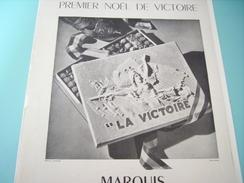 ANCIENNE PUBLICITE PREMIER NOEL DE VICTOIRE MARQUIS CHOCOLAT DE PARIS 1945 - Posters