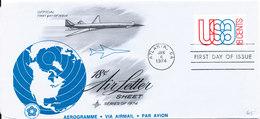 USA FDC Aerogramme 4-1-1974 18 C. Airmail Art Craft Cachet - 1961-80