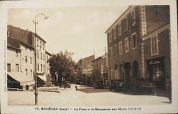 CPSM.- FRANCE - Bessèges Est Situé Dans Le Dép. Du Gard - La Poste Et Le Monument Aux Morts 1914-18 - En TBE - Bessèges