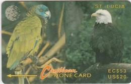 St Lucia : SLT-14E  . PARROT & EAGLE  . - Saint Lucia
