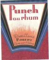 étiquette  - Alcool Appéritif - PUNCH AU RHUM  - Distillerie Robert Aire Sur L'Adour LANDES - Rhum