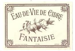 étiquette  - Eau De Vie De Cidre - Dorure  - Modele Imprimeur 186 (explication Dos) 2petits Clairs - - Whisky