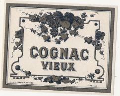 étiquette  - COGNAC VIEUX   - Modele Imprimeur 105 (explications Imprimeur Dos)(4pts Colle) - Whisky