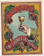 étiquette  - COGNAC Fine Champagne (parafinée ) Superbe - - Whisky