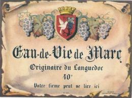étiquette  - Imprimeur Eau De Vie De Marc Du Languedoc - Whisky