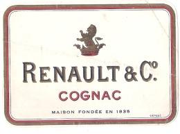 étiquette  - COGNAC  Renault Et Compagnie - PLIS - Whisky